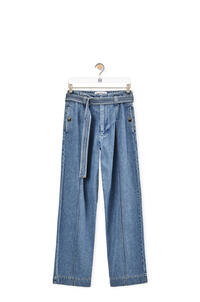 LOEWE Belted high waist jeans in cotton Blue pdp_rd