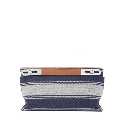 LOEWE Missy Stripes Small Bag Navy Blue/Tan front