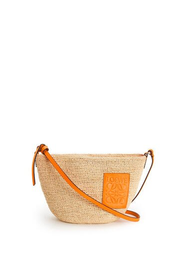 LOEWE Pochette bag in raffia and calfskin Natural/Neon Orange pdp_rd