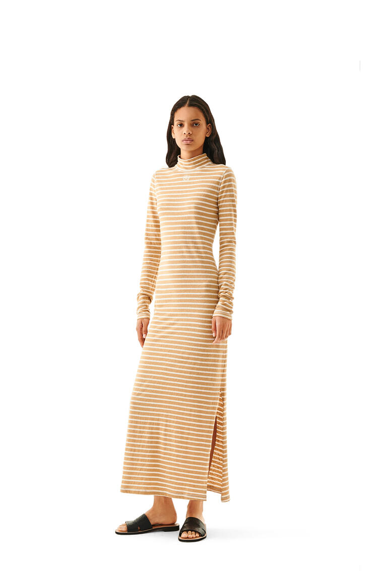LOEWE High neck jersey dress in striped cotton Beige pdp_rd
