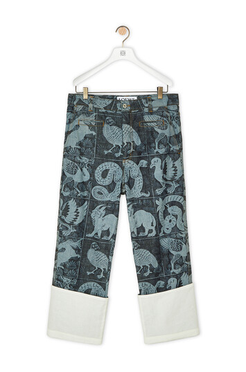 LOEWE Laser Print Fisherman Animals White/Indigo Blue front