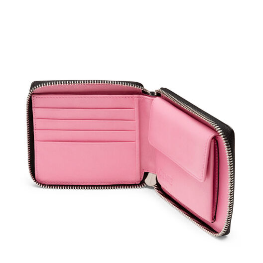 LOEWE Puzzle Square Zip Wallet Roses White/Black front