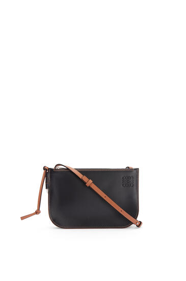 LOEWE Gate double zip pouch in soft calfskin Black/Tan pdp_rd