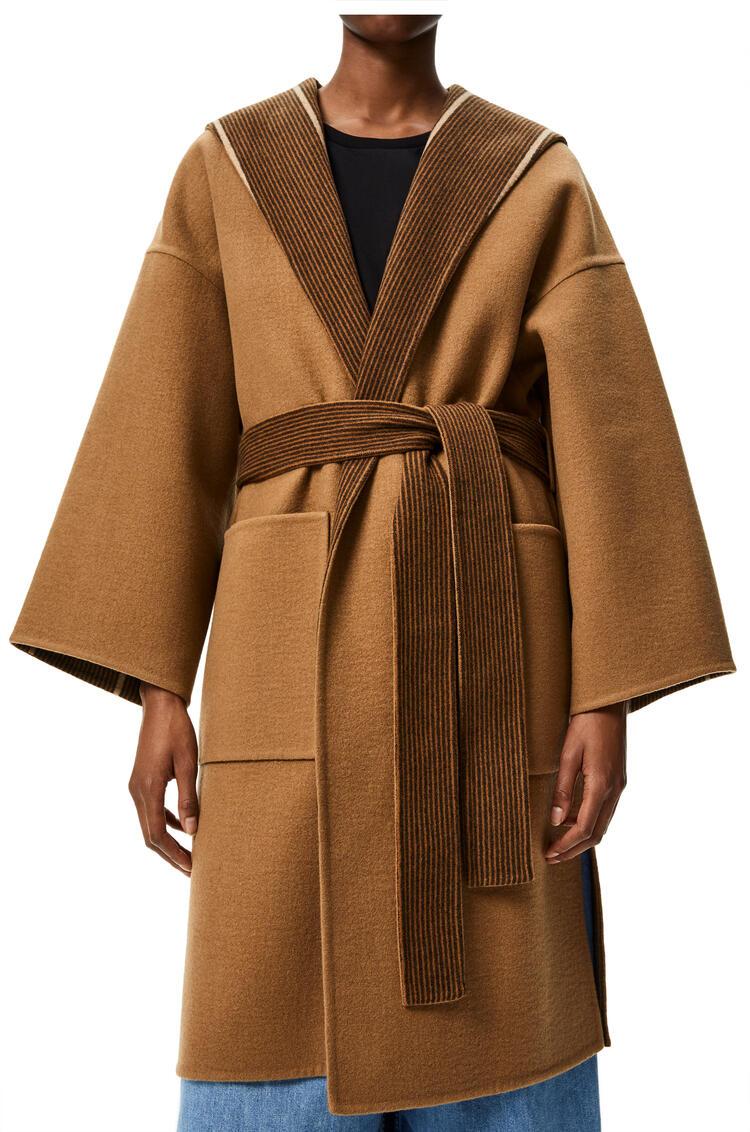 LOEWE Hooded belted coat in cashmere Brown/Beige pdp_rd