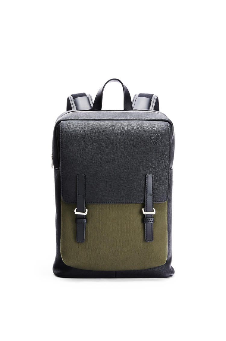 LOEWE Military Backpack in soft grained calfskin and canvas Black/Forest Green pdp_rd