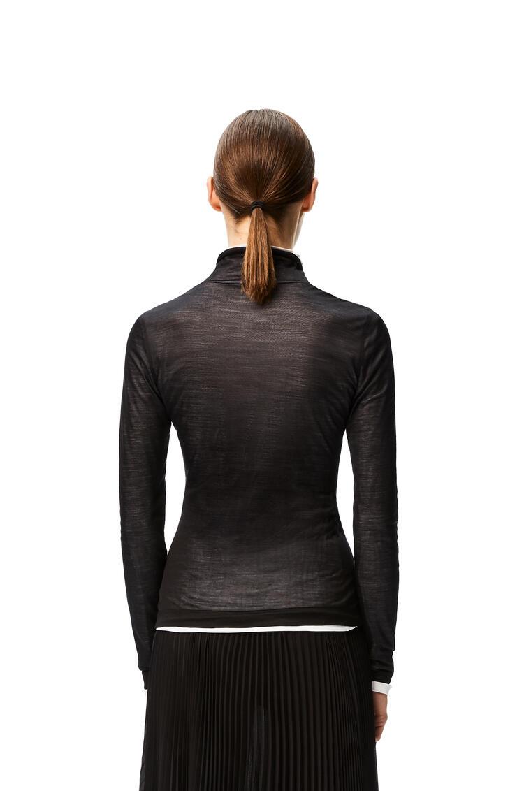 LOEWE Top de cuello alto y doble capa en seda y algodón Negro/Blanco pdp_rd