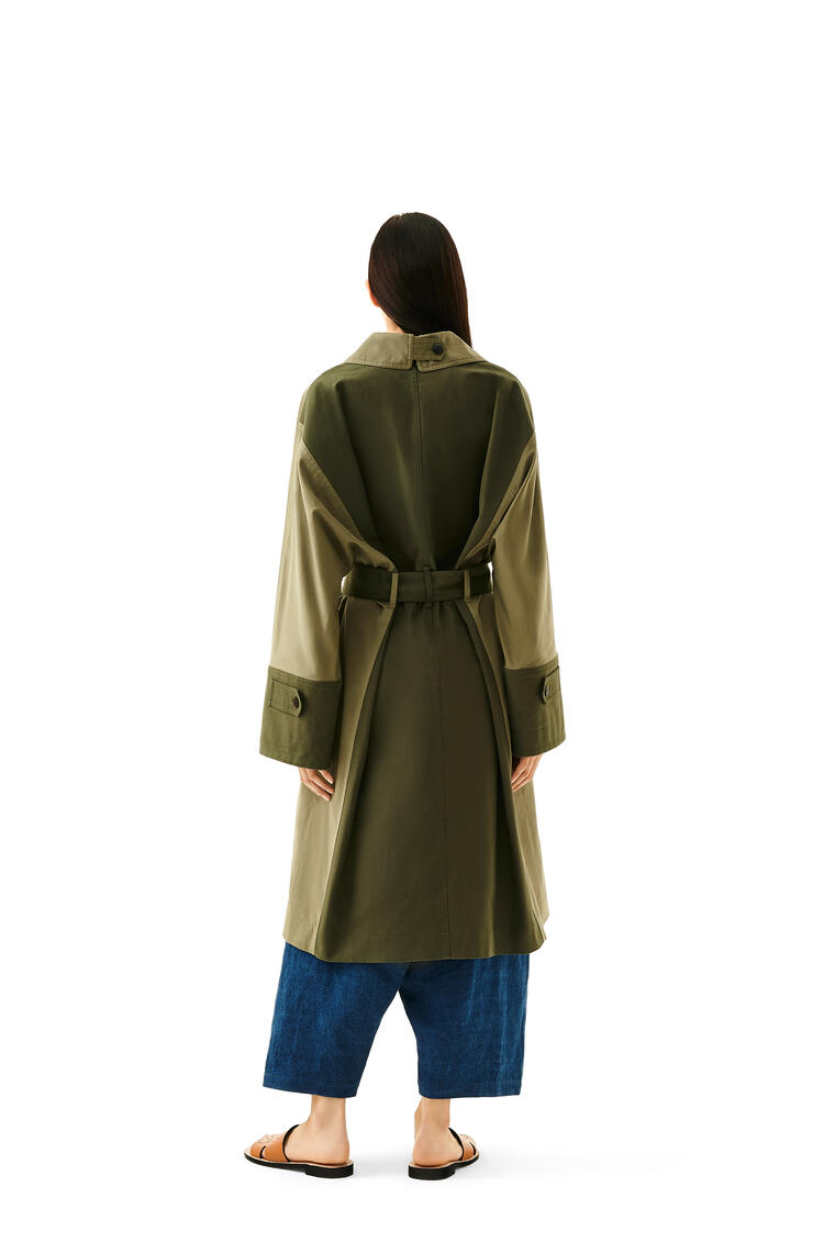 LOEWE Trench Coat In Cotton And Silk Military Green pdp_rd