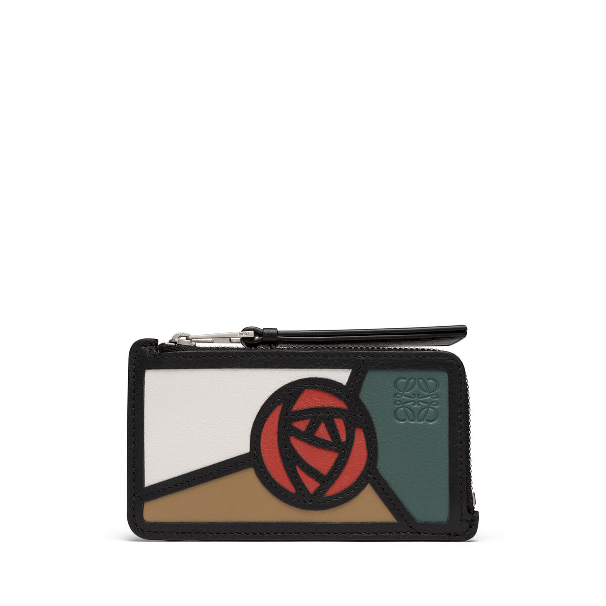 LOEWE Tarjetero C/Mon Puzzle Roses Mocca/Multicolor all