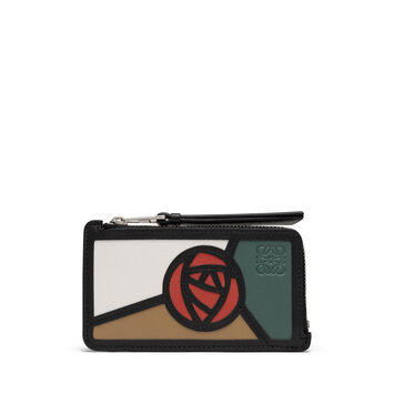 LOEWE Tarjetero C/Mon Puzzle Roses Mocca/Multicolor front