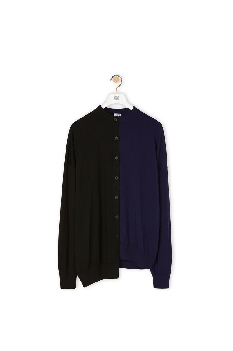 LOEWE 羊绒不对称开衫 Black/Navy Blue pdp_rd