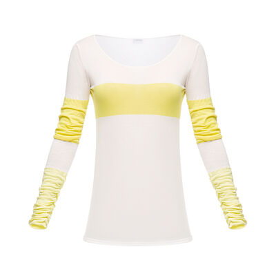 LOEWE Long Slv Scoop Neck Knit Top White/Yellow front