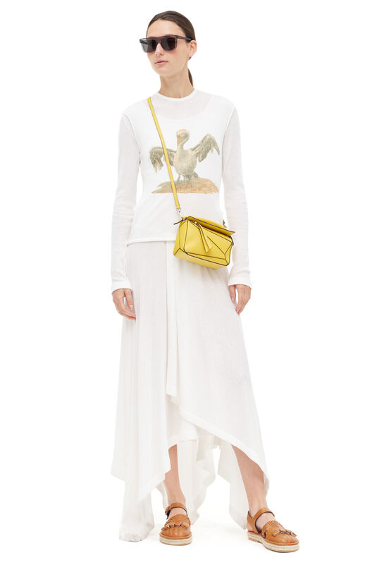 LOEWE Rib Jersey T-Shirt Dress Bird White front