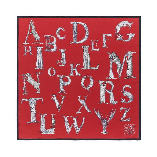 LOEWE 90X90 Scarf Alphabet Red front