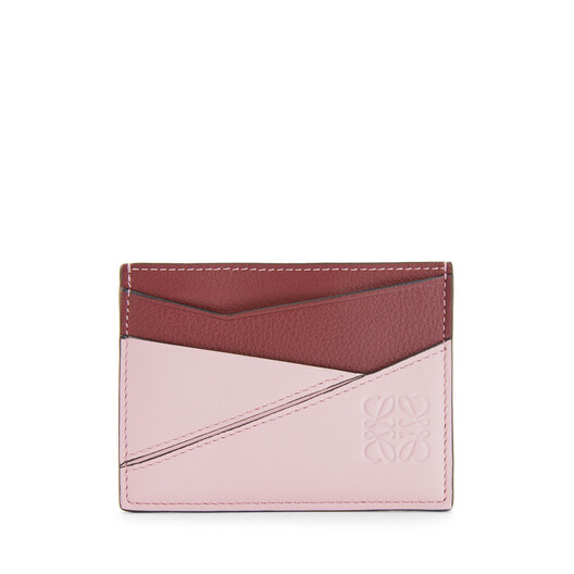 LOEWE Puzzle Plain Cardholder Wine/Pastel Pink front