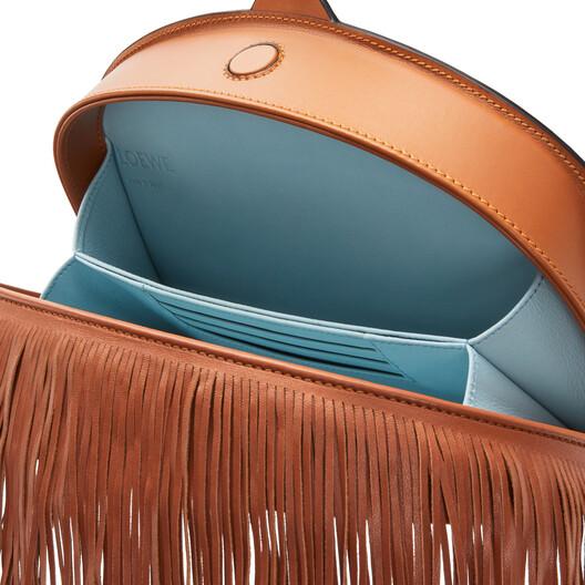 LOEWE Heel Clutch Fringes Tan front
