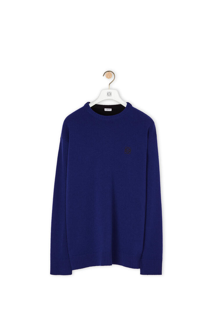 LOEWE Anagram embroidered sweater in wool Navy Blue pdp_rd