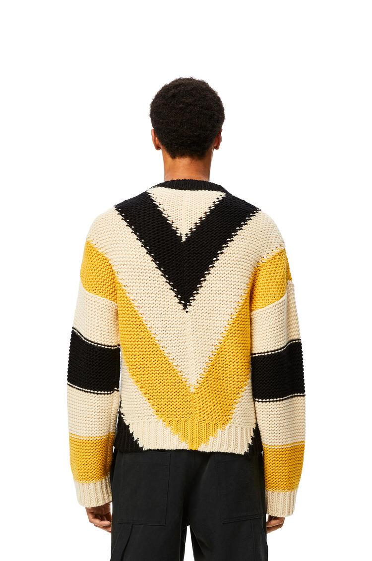 LOEWE Crewneck sweater in striped wool Yellow/Black pdp_rd