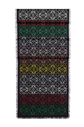 LOEWE 45X200 Scarf Anagram In Lines Multicolor/Black front