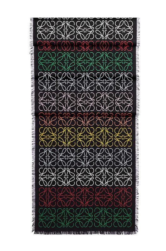 LOEWE 45X200 Scarf Anagram In Lines Multicolor/Negro front