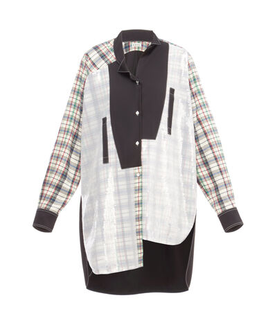 LOEWE Long Sequins Asymmetric Shirt Black/Multicolor Tartan front