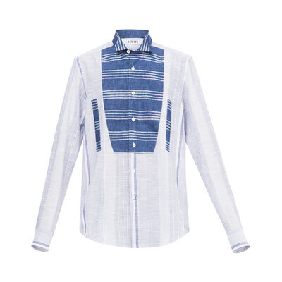 LOEWE Patchwork Wing Collar Shirt Blue/White front