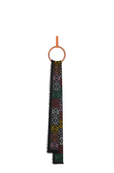 LOEWE Anagram lines scarf in wool, silk and cashmere Multicolor/Caramel  pdp_rd