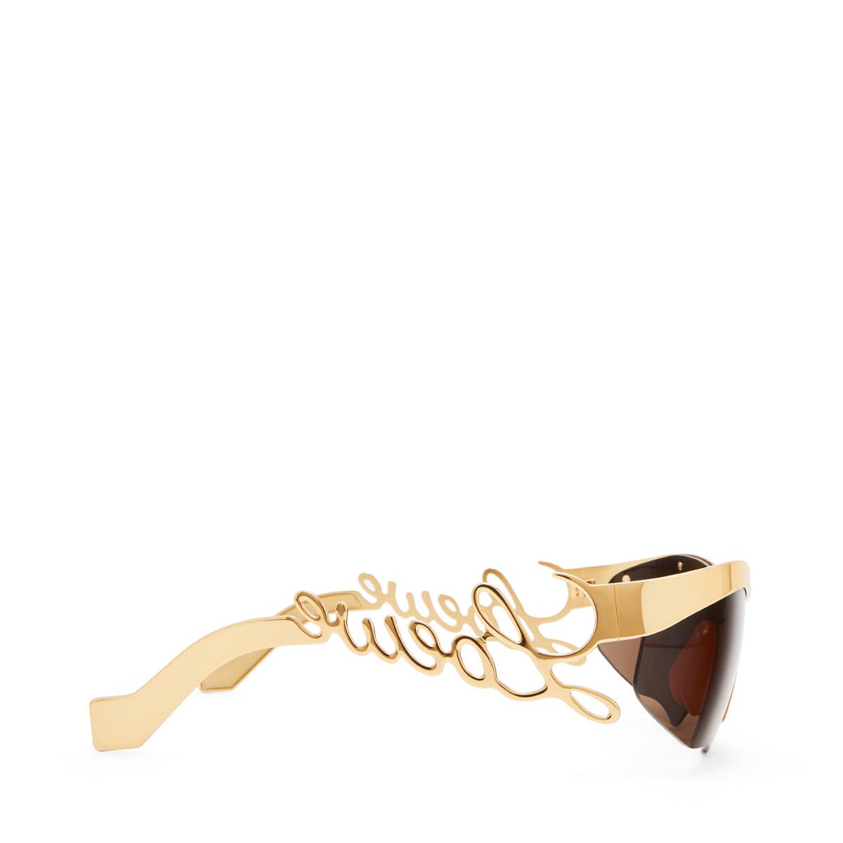 LOEWE Logo Mask Sunglasses Gold/Brown front