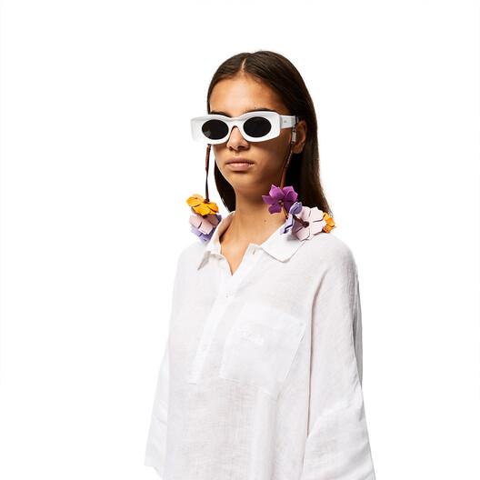 LOEWE Flowers Sunglasses Strap In Classic Calfskin Bright Purple/Mauve front