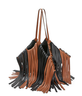 LOEWE Cocotte Fringes Bag 黑色/棕褐色 front