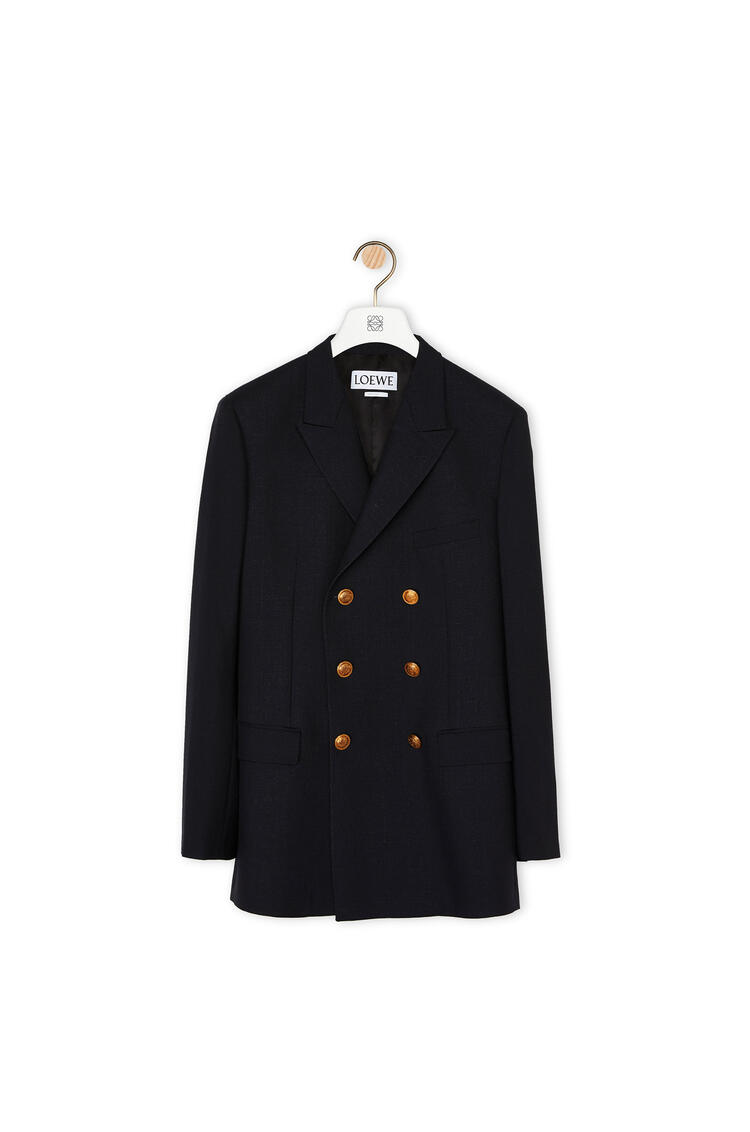 LOEWE Double Breasted Jacket In Cashmere Navy Blue pdp_rd