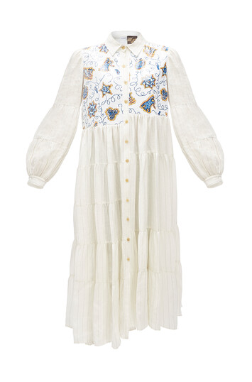 LOEWE Paula Stripe Dress Sequins White Ash front