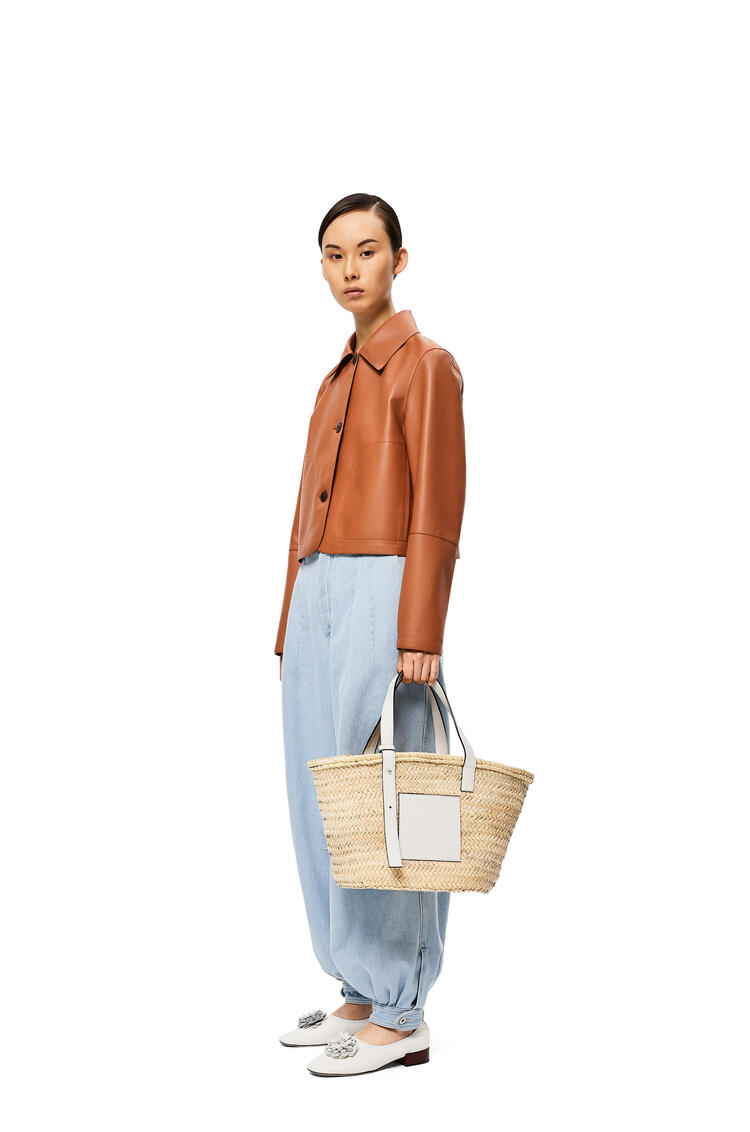 LOEWE Basket Bag In Palm Leaf And Calfskin Natural/White pdp_rd