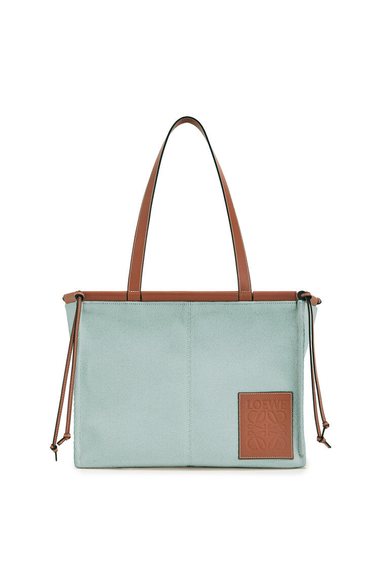 LOEWE Small Cushion Tote Bag In Canvas And Calfskin Aqua pdp_rd