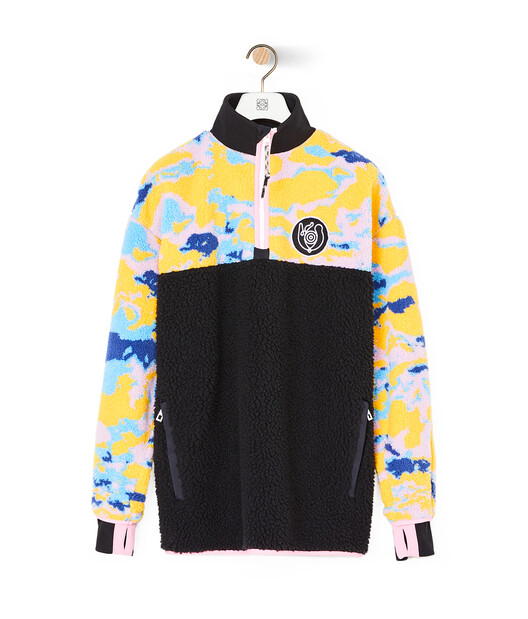 LOEWE Eln Fleece Zip Sweater Multicolor/Black front