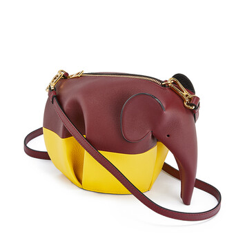 LOEWE Bolso Elefante Colour Block Mini Vino/Amarillo front