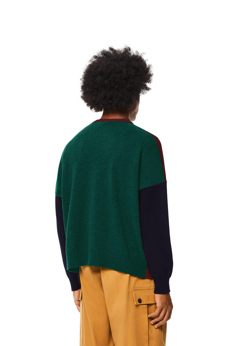 LOEWE Colour block cardigan in wool Burgundy/Green pdp_rd