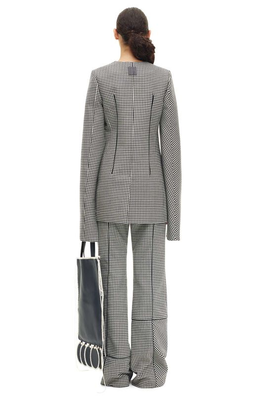 LOEWE Check Piping Trousers Negro/Blanco all