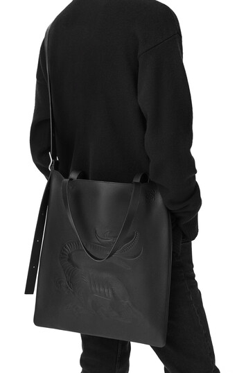 LOEWE Vertical Tote Dragon Bag Black front