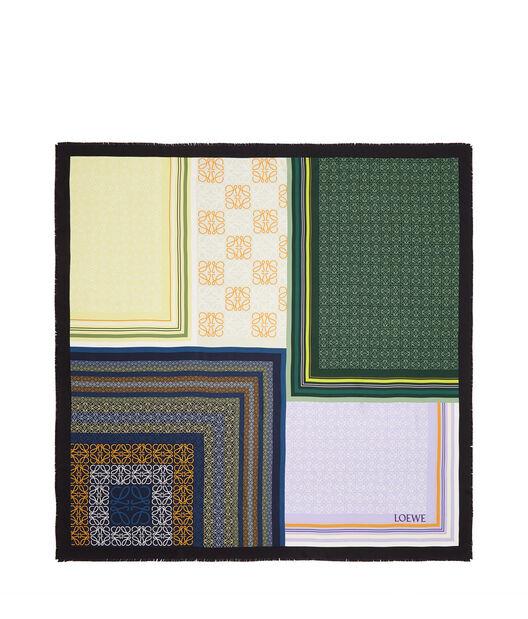 LOEWE 140X140 Scarf Print Patchwork Verde front