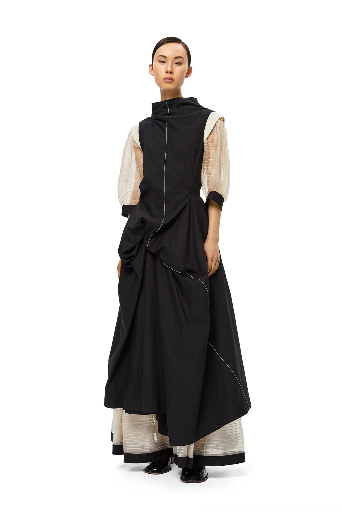 LOEWE Gathered Dress Black/Ecru front