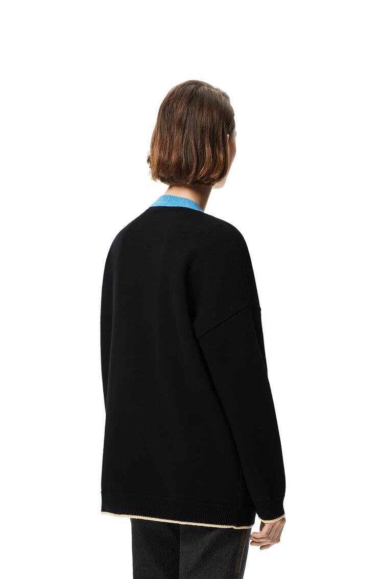 LOEWE 刺绣开襟羊毛衫 Black/Turquoise pdp_rd