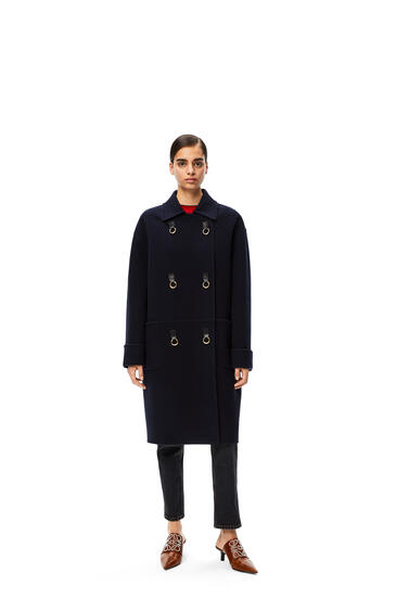 LOEWE Oversize double breasted coat in wool and cashmere Navy Blue pdp_rd