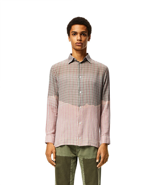 LOEWE Check Shirt In Tie Dye Cotton Grey/Pink front
