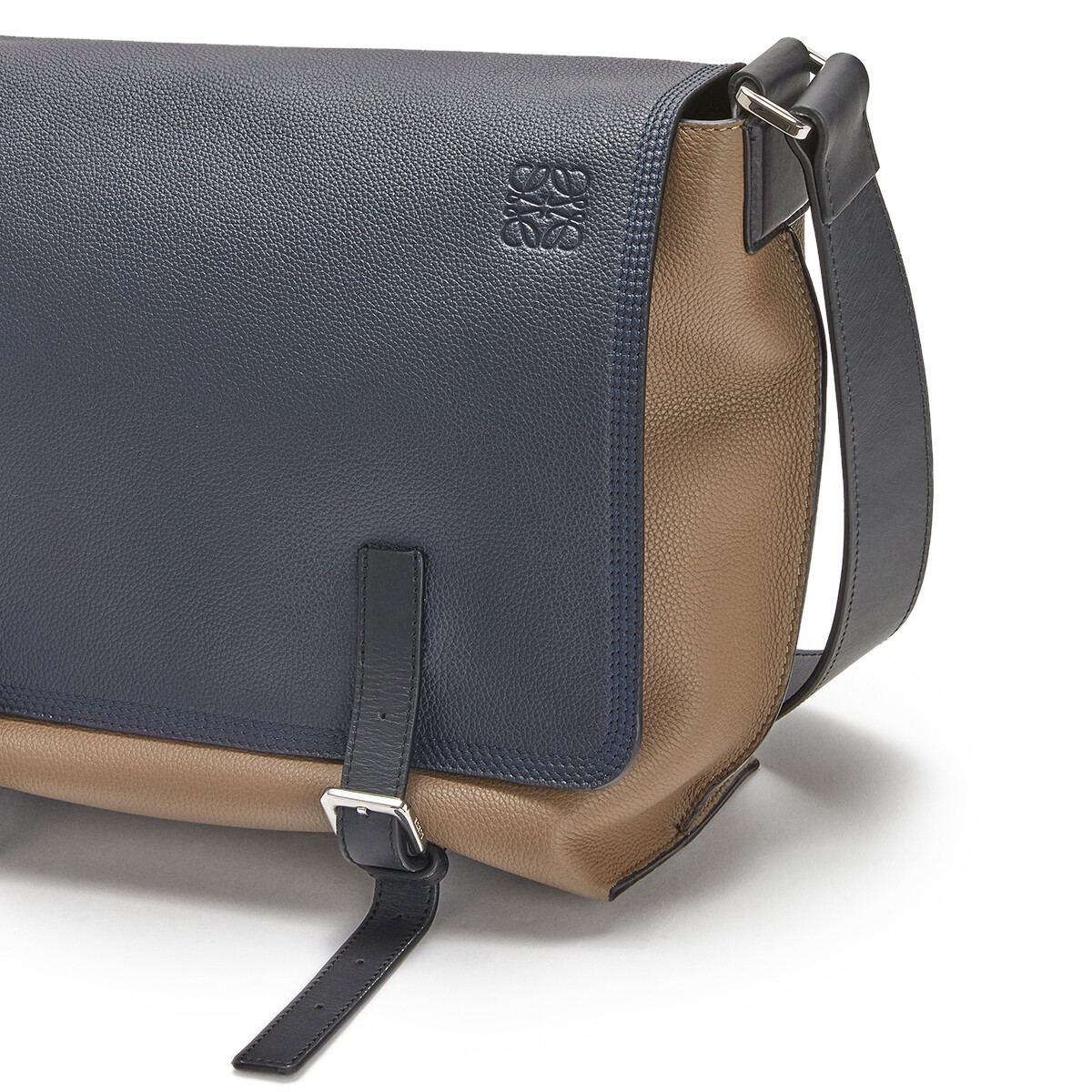 LOEWE Military Messenger Small Bag Deep Blue/Dark Taupe front