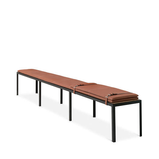 LOEWE Set Long Bench W/ Leather Mat Black/Tan front