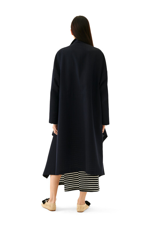 LOEWE High Neck Double-Breasted Coat 海军蓝 front