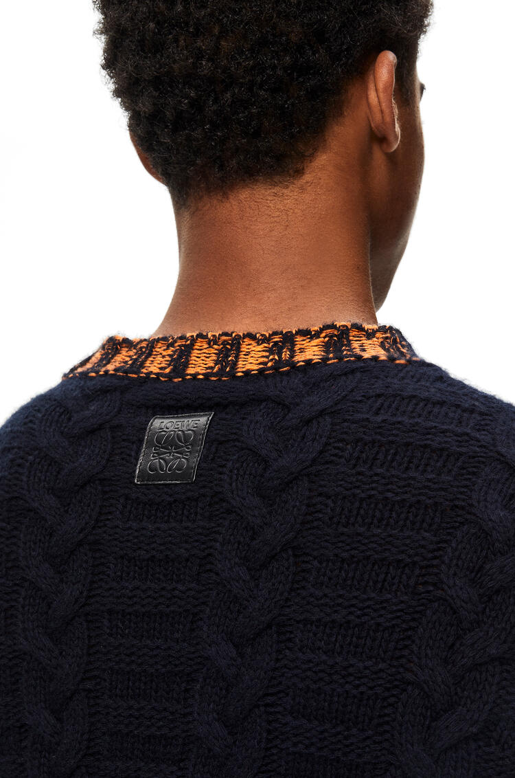 LOEWE Cable knit sweater in wool and cashmere Navy/Indigo Dye pdp_rd