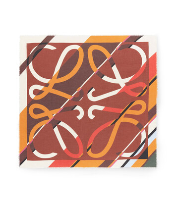 LOEWE 140X140 Scarf Stripe Anagram Toffee front