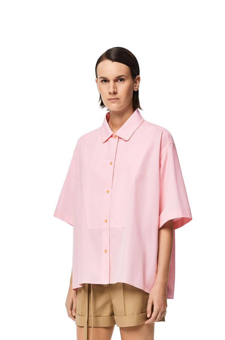 LOEWE Short sleeve bib shirt in cotton Light Pink pdp_rd