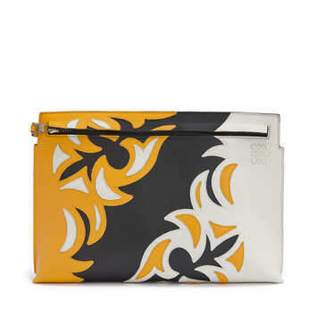 LOEWE T Pouch Cowboy Bag Black/Yellow Mango front